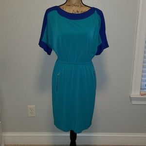 Calvin Klein blue green dress with pockets